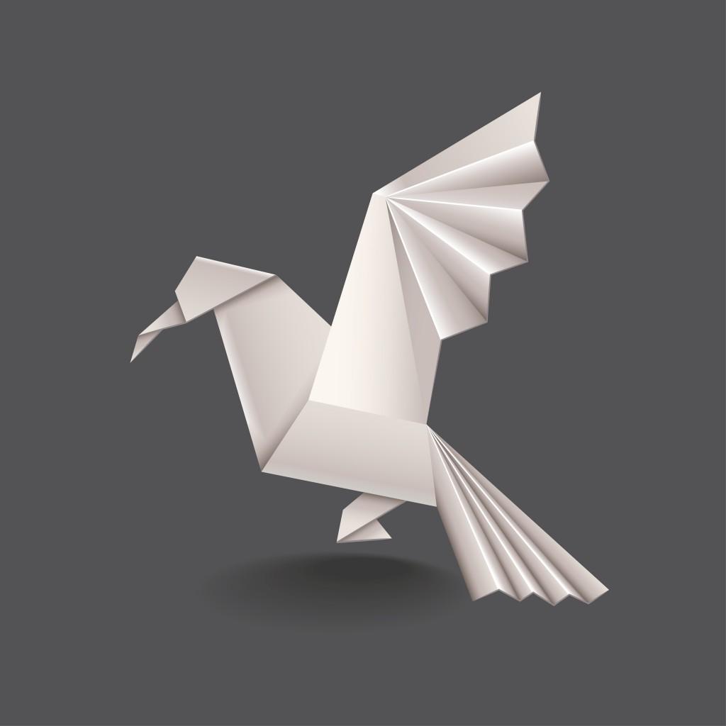 Origami bird isolated on dark vector