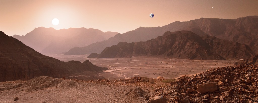 The landscape on the planet mars