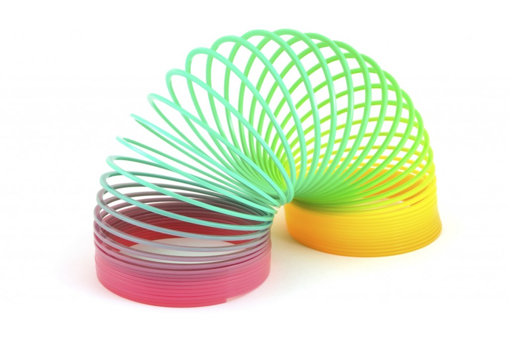 Slinky toy on white backround