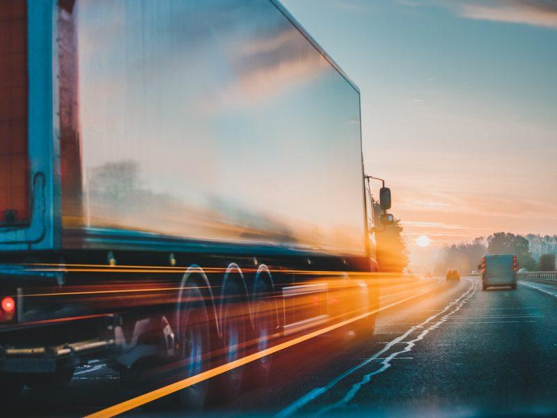 Lorry on motorway in motion