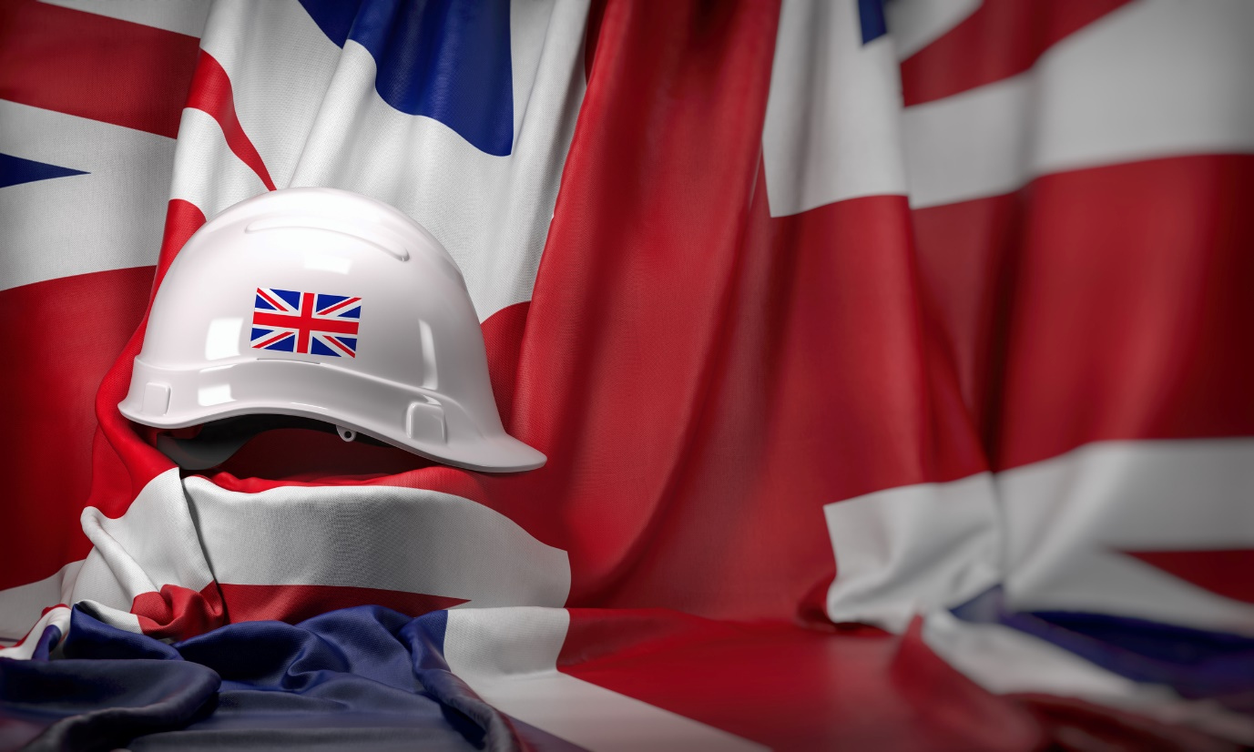 uk flag with hard hat