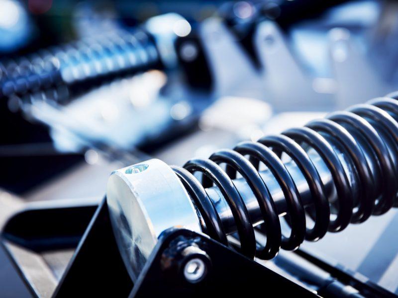 large metal spring in car