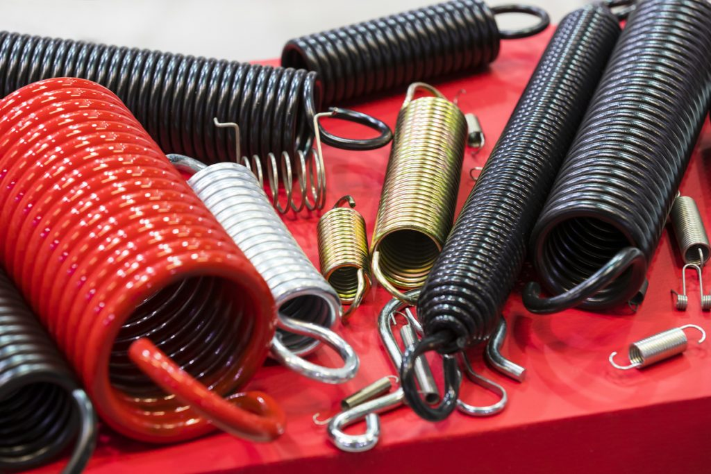 metal springs of different sizes and colours